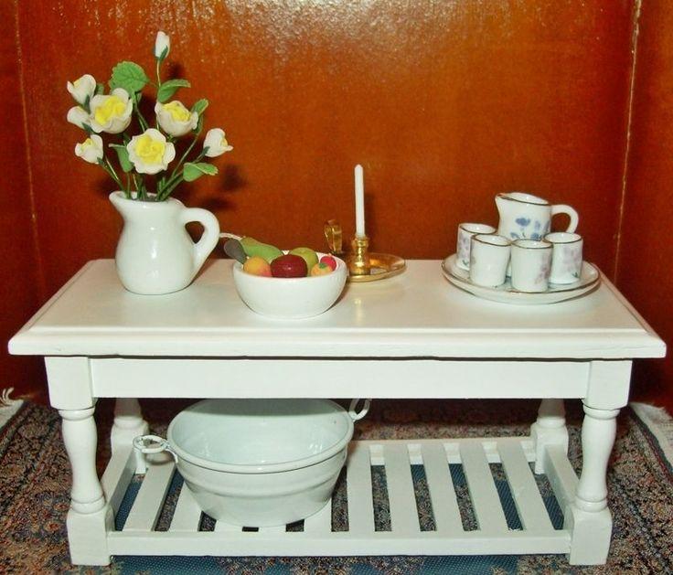 Küchentisch Arbeitstisch Tisch Anrichte Küche weiß Puppenhaus