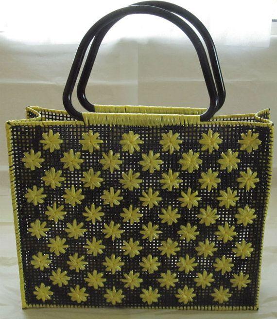 Mexican Handmade Black and Yellow Raffia by CraftsIdeasComeTrue, $35.00