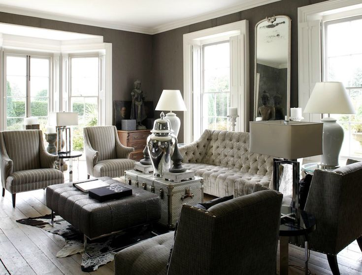 Fantastic Living Room Design With Gray Taupe Grasscloth Wallpaper Bay Windows White Striped High Back Chairs Black Leath
