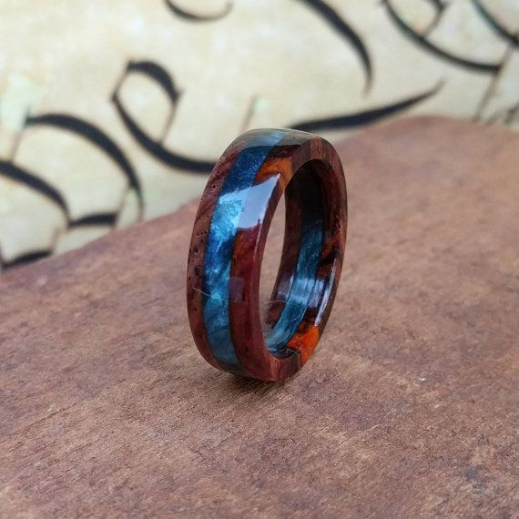 Wooden ring - Cocobolo Wood Ring- Mens Wooden Ring - Wooden Wedding Band - Promise Ring - Anniversary Gifts for Men