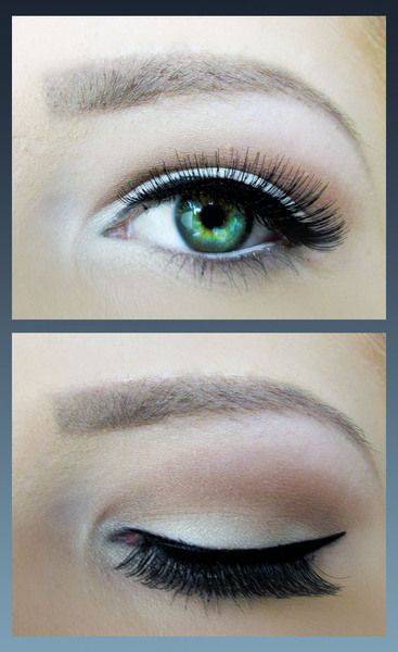 Baby Doll - get the look. Shadows: white & brown. Eyeliner: black, white & smudged grey. Mascara: black.