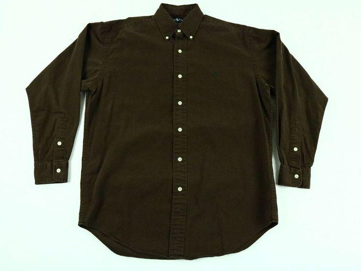 Ralph Lauren Men's Shirt Brown Blaire Green Pony Button Down Long Sleeve Size S #RalphLauren