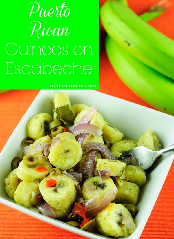 Learn how to make guineos en escabeche with this simple recipe! Guineos en escabeche is a green banana salad from Puerto Rico that makes a delicious side dish!