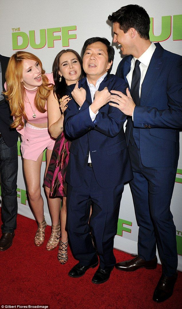 Close cast: The DUFF co-stars (L to R) Bella, Mae Williams, Ken Jeong, and Robbie Amell sh...
