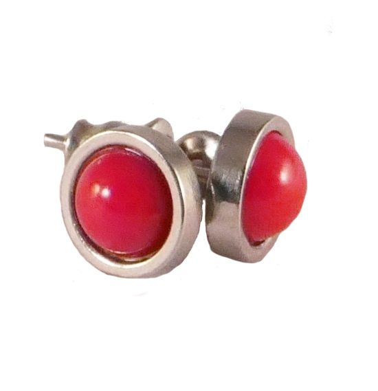 Stainless steel stud with bamboo coral in gorgeous red.