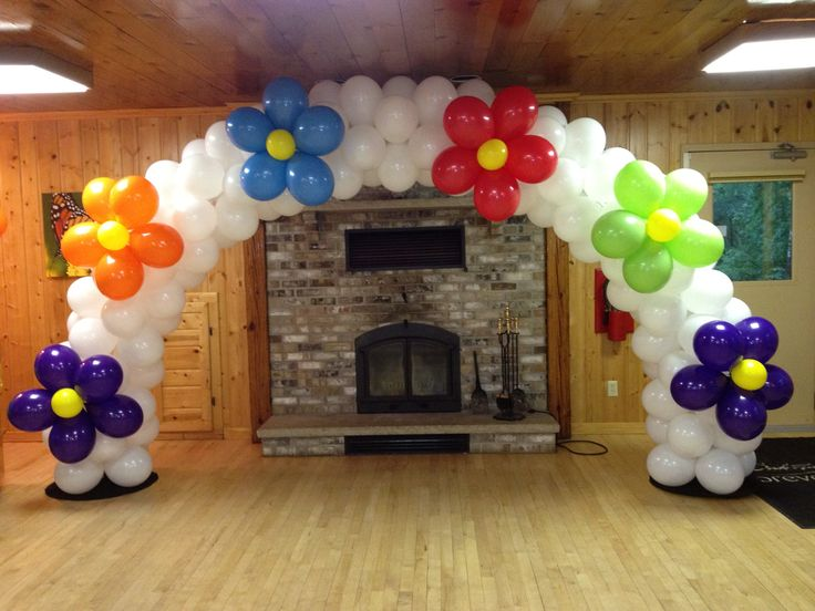 Flower balloon arch bubbles and ballons pinterest for Balloon arch decoration ideas