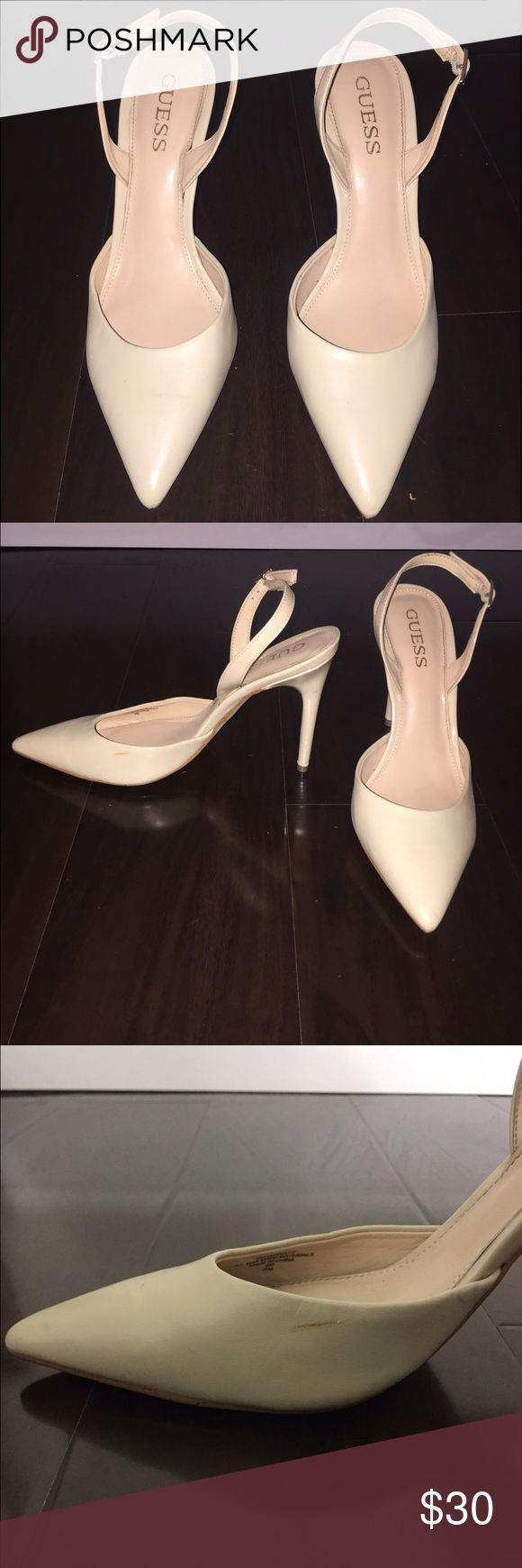 "Guess Nude Point Toe Back Strap Heels Guess Nude heels, size 8. A few scuffs as shown in photos. Worn once. Heel size approximately 4"". Guess Shoes Heels"