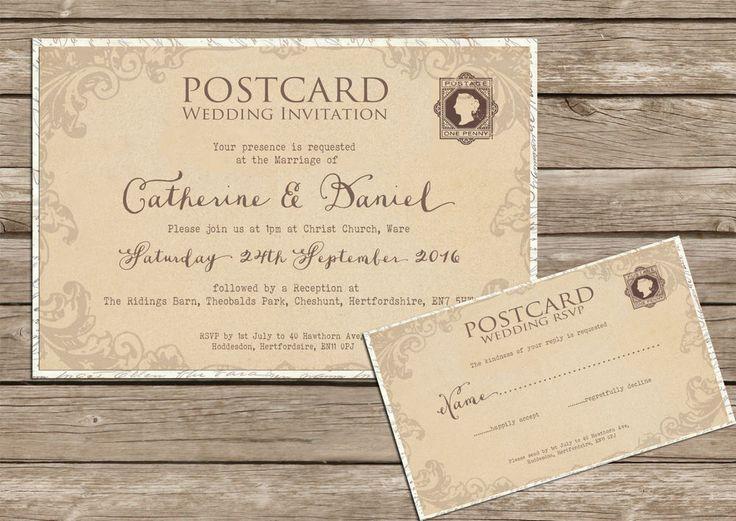 Personalised Shabby Chic Vintage Lace Postcard Wedding Invitations
