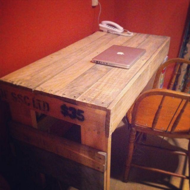 Pallet Desk DIY ** Follow all of our boards** http://www.pinterest.com/bound4burlingam/