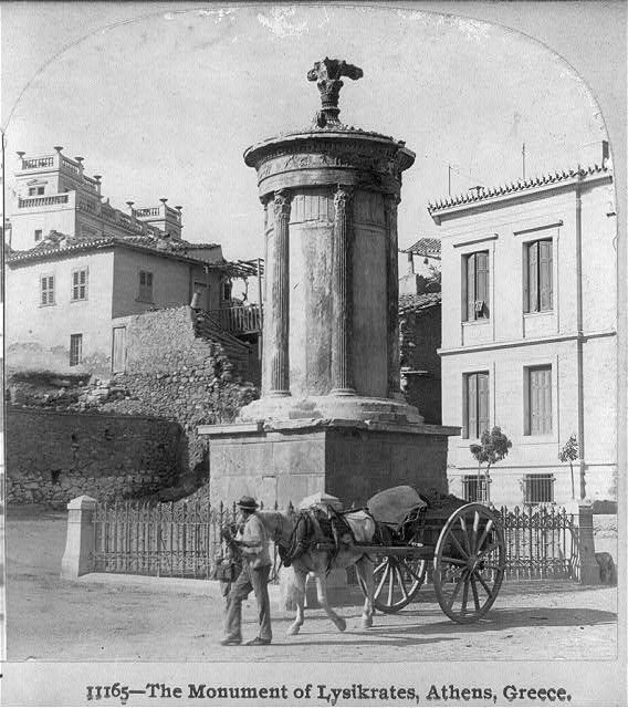 The monument of Lysicrates, Athens, Greece  Date Created/Published: c1900. Repository: Library of Congress Prints and Photographs Division Washington, D.C. Collections:  Stereograph Cards. Stereo copyrighted by B.L. Sinley  This record contains unverified, old data from caption card. http://www.loc.gov/pictures/
