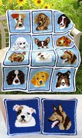 Crochet Cuddly Canines Afghan & Pillows