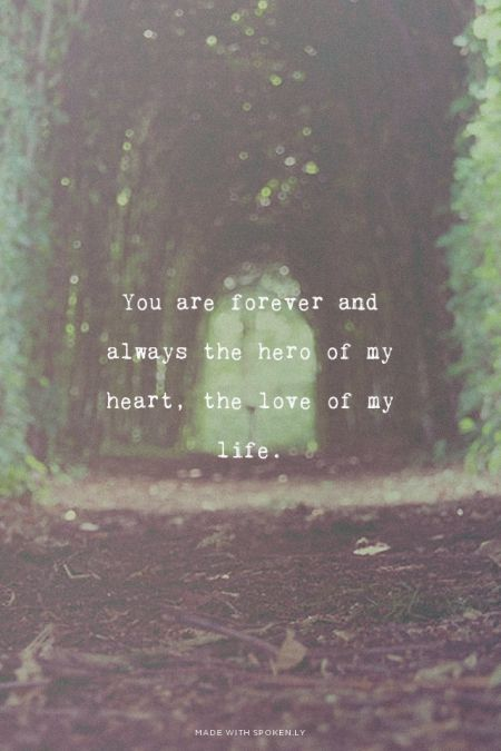 You are forever and always the hero of my heart, the love of my life. | What a beautiful little quote about love.