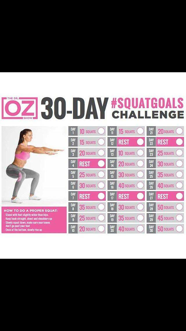 OZ 30 day squat challenge | Health & Fitness | Pinterest ...