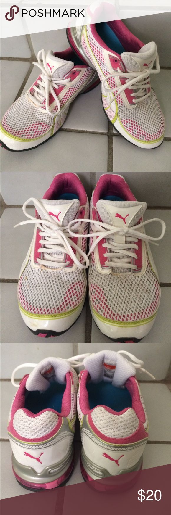 Puma Sport Shoes - pink, lime green and white! EUC This is a listing for a pair of Puma sport shoes. EUC. A little staining on front (shown in pics) - would probably easily come out. Only worn about 5 times. Pink, Lime Green & white with a some silver accents. Puma Shoes Athletic Shoes