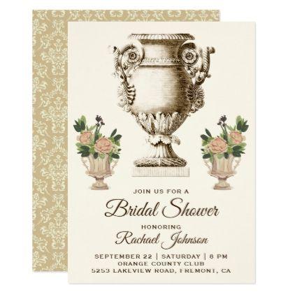 Vintage Victorian Vase Bridal Shower Invitation - antique gifts stylish cool diy custom