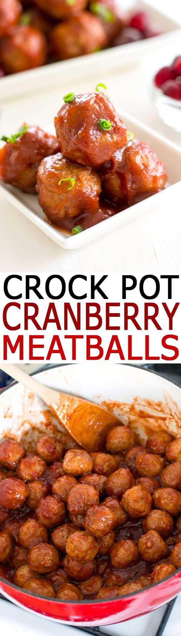 Crock Pot Cranberry Meatballs | Easy 3-ingredient appetizer recipe! #appetizers #holidayrecipes #slowcooker