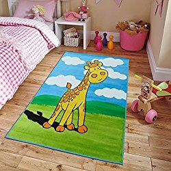 New Soft Adorable Kids Rugs Contemporary Playtime Giraffe Island Kids Area Rug, Large 5x7 Kids Carpet Playroom