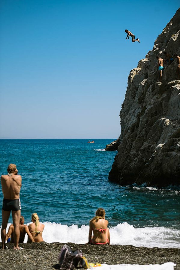 Cliff Jumping in Kamari, Santorini