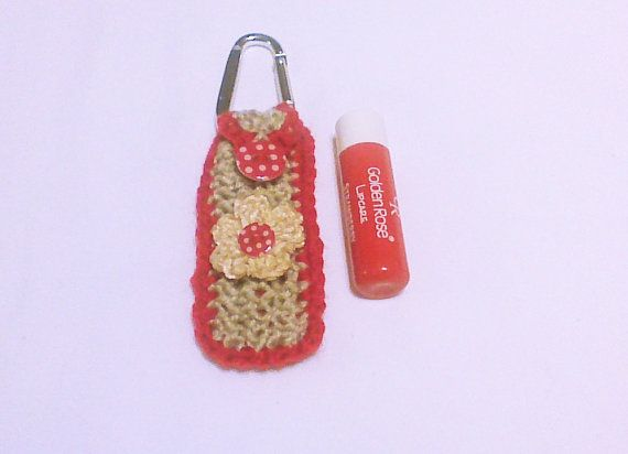 Hand knit keychain Lip balm key chain Chapstick by HandmadeTrend, $10.00