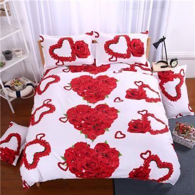 Gorgeous 3d Rose Print Queen Size Romantic Bedding Set Duvet Cover Bed Sheet  Pillow Cases 4pcs