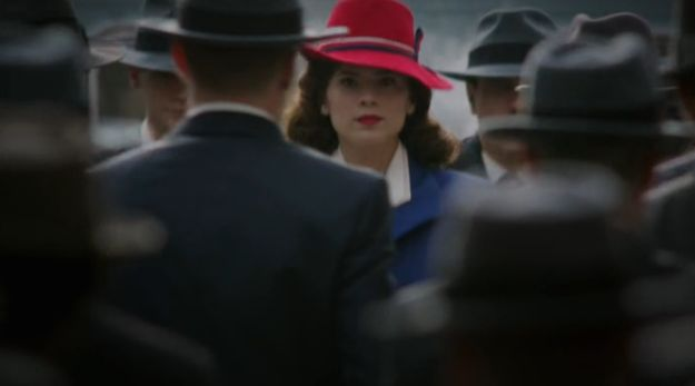 "There is a shot early in the first episode where Agent Carter is symbolically fighting through men standing in her way. | 49 Gloriously Feminist Moments From ""Agent Carter"""