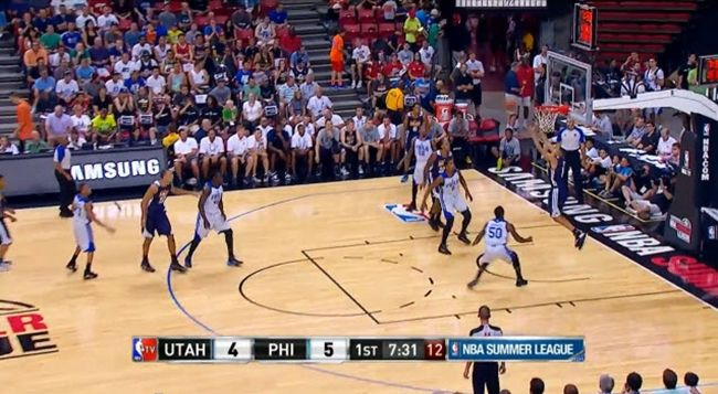 Highlights Of Dante Exum's Summer League Debut (Video)- http://getmybuzzup.com/wp-content/uploads/2014/07/Dante-Exum.jpg- http://getmybuzzup.com/dante-exums-summer-league/- By Glenn Erby Dante Exum made his NBA/Summer League debut Saturday night against the 76ers, and he put on display the full arsenal of talent that had NBA brass smitten with drafting him. Exum finished with 10 points, 3 assists, 3 rebounds, and 1 steal while wowing those in attendance in Las...- #DanteExu