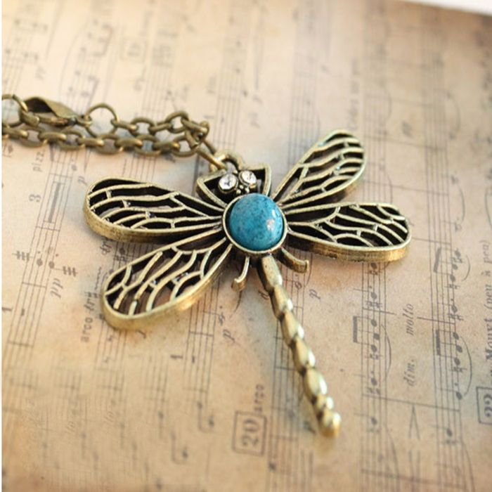 Imixbox fashion accessories vintage dragonfly cutout necklace female-inChain Necklaces from Jewelry on Aliexpress.com