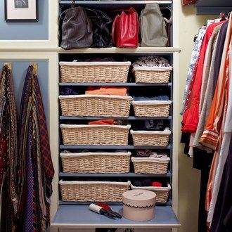 From walk-in wardrobes to space savers, the best ideas for clothes storage.  The Organisation  A well organised walk in wardrobe doesn't have to be a huge fuss to execute. This neat set up in the New York home of architects Ann Fairfax and Richard Simmons uses wicker baskets to separate out small items, and uses wall mounted tie racks. An upward-folding cupboard door doubles as a surface.  From the June 2014 issue of House & Garden