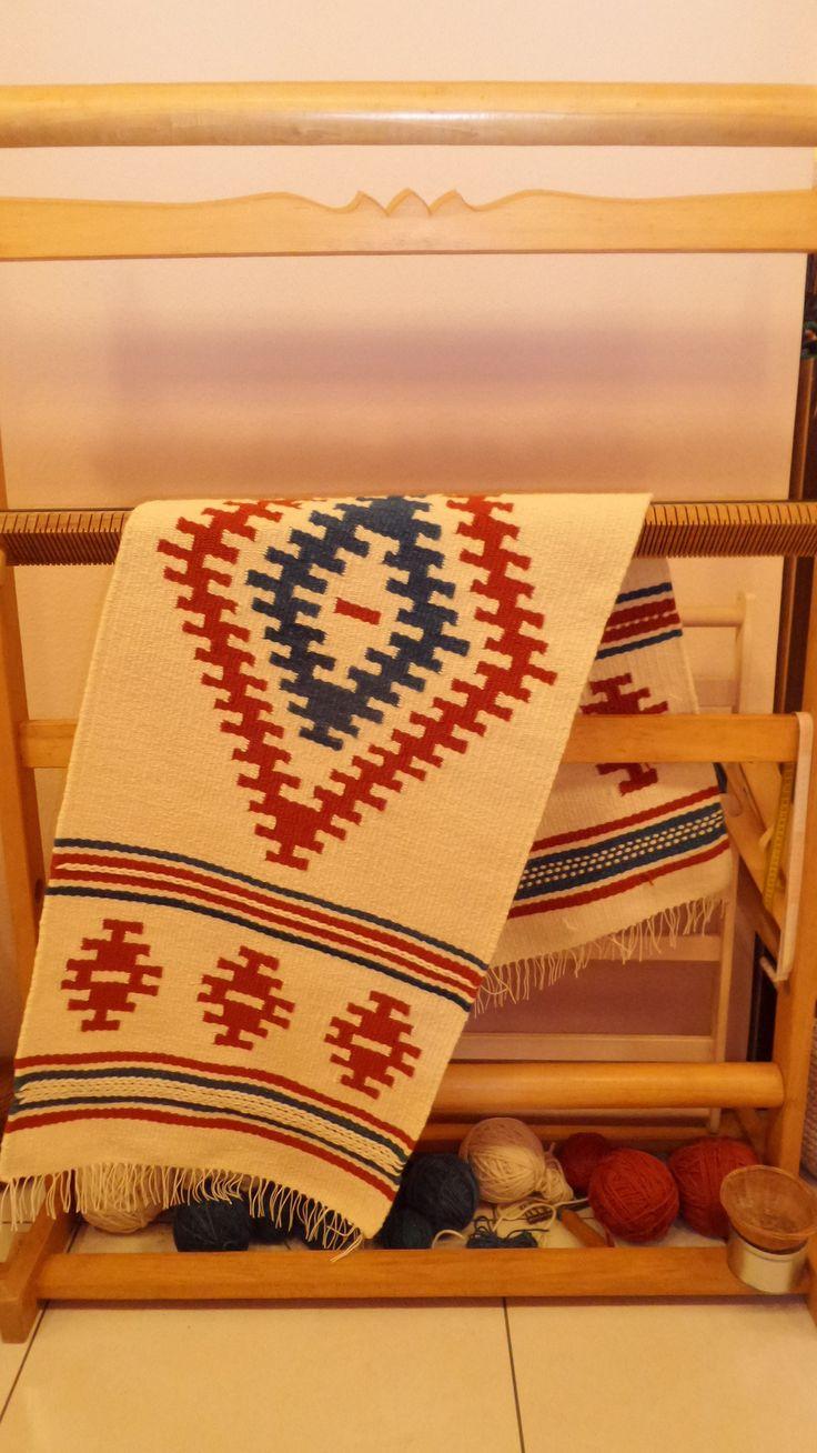Gyapjú faliszőnyeg, székely gyertyás csillag motívummal - Wool carpet - www.zentaianna.hu