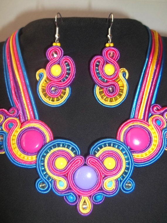 OOAK Soutache Jewelry Set Of Earrings  Necklace by DesignByNataly, $50.00