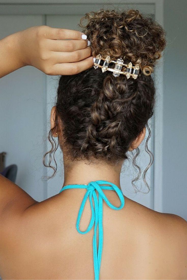 Curly hairstyles, natural hair. summer hairstyles. braided bun. messy bun. hair accessories