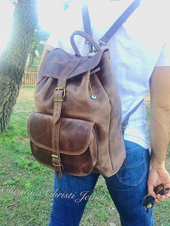 Leather Backpack, Leather Rucksack, Brown Leather Backpack, Sportsbag, Made in Greece from Full Grain Leather, EXTRA LARGE.