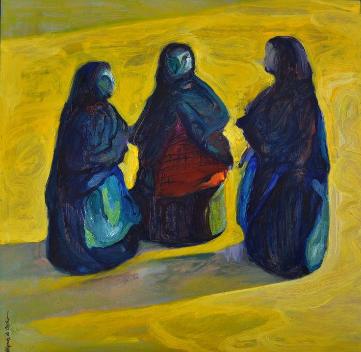 Las abuelas, óleo-tabla, 60x60 cm.