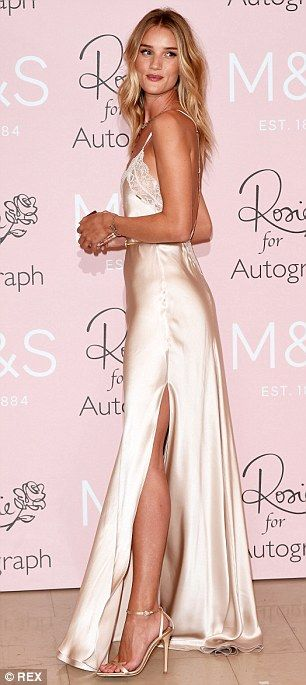 Rosie Huntington-Whiteley wows in backless silk nightgown