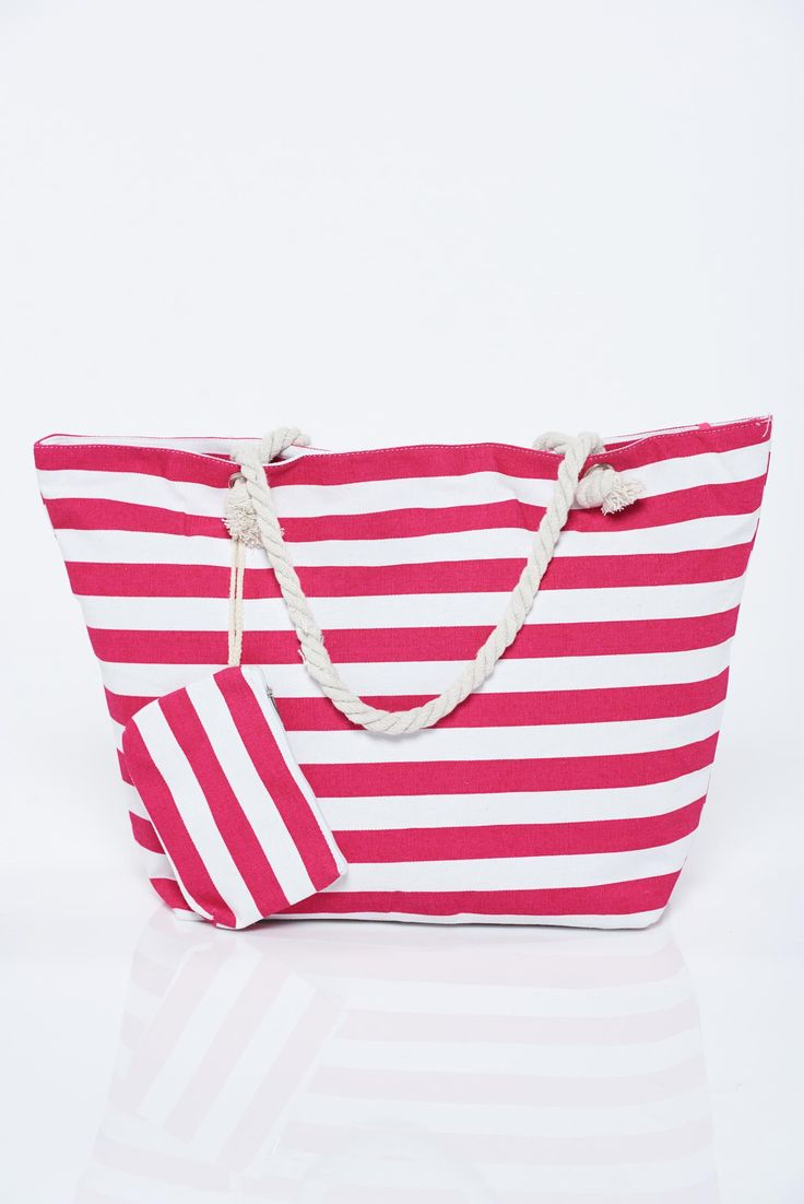 Comanda online, Geanta dama de plaja roz cu dungi orizontale. Articole masurate, calitate garantata!