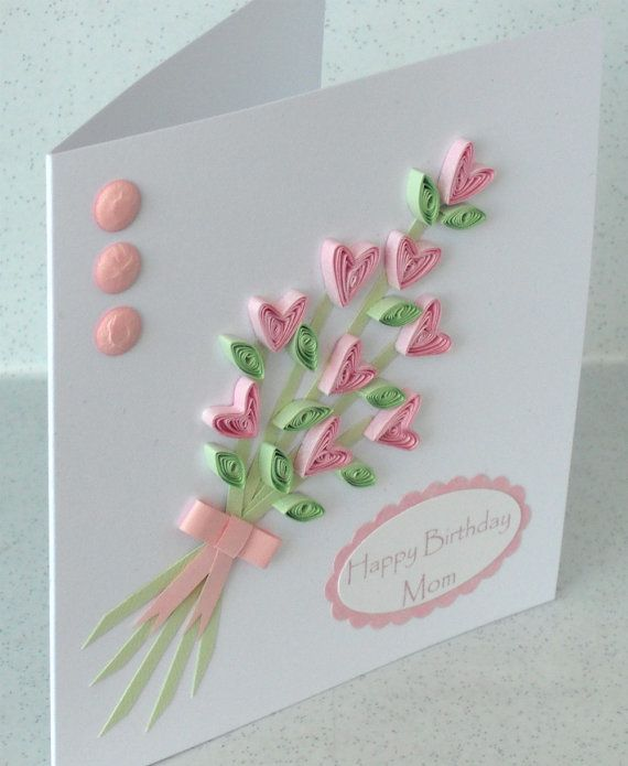 Paper quilling card quilled flowers by PaperDaisyCardDesign, £5.00 Happy mothers day happy birthday mum mom