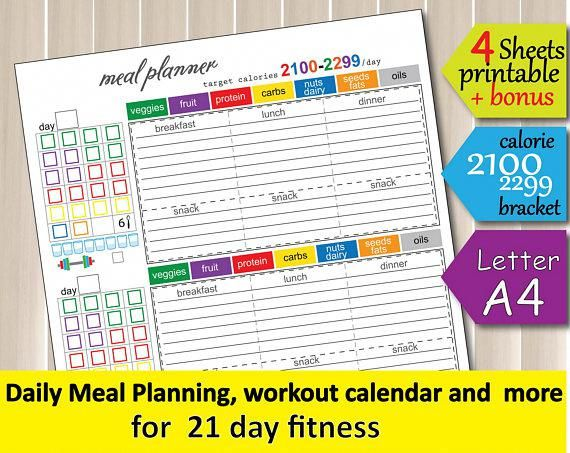 Meal Planner Template, 2100 Calorie Bracket, Grocery List, Fitness