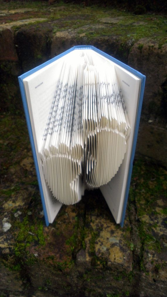 Folded Book Art - Book folded into Footprints Design - perfect Christening gift