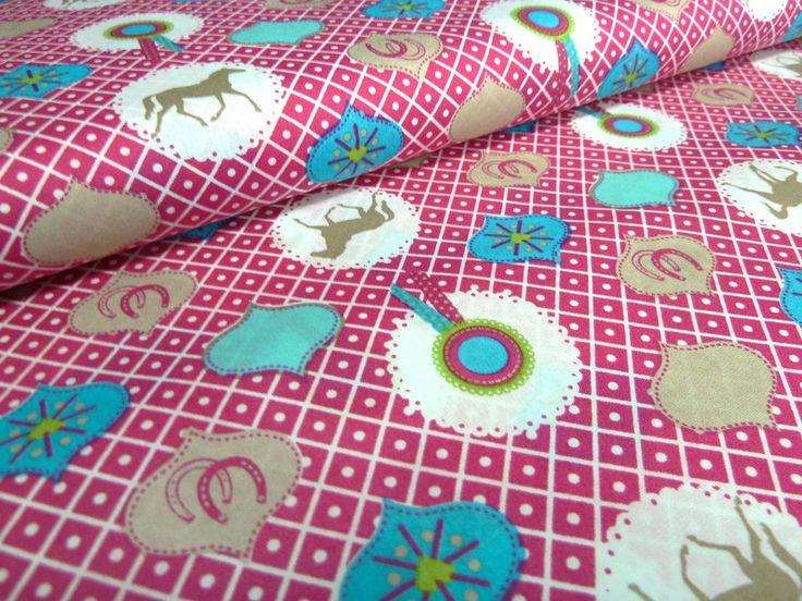 stoff bw pferde hufeisen ornament druck pink bunt von outlet town auf n hen pferde. Black Bedroom Furniture Sets. Home Design Ideas