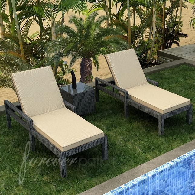 Forever Patio Hampton 2 Person Resin Wicker Patio Chaise Lounge Set With  Arms   Chocolate