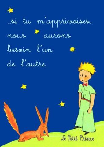 Carte postale représentant le Petit Prince et le renard