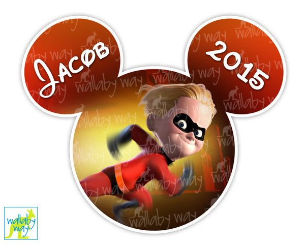 Dash The Incredibles Disney Printable Iron On Transfer or Use as Clip Art  DIY Disney Shirt, The Incredibles - Mickey Head - Matching shirts by TheWallabyWay on Etsy