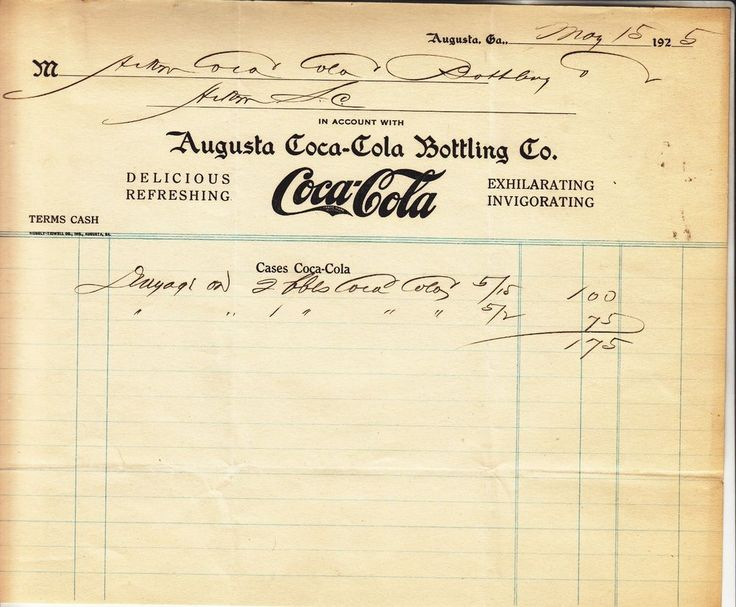 AUGUSTA COCA-COLA BOTTLING  COMPANY  AUGUSTA GA. INVOICE  DATED  MAY 15 - 1925.  | eBay