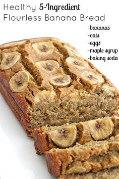 Healthy 5-Ingredient Flourless Banana Bread. Oats, eggs, maple syrup, baking soda. The Baker Mama blog. 350°F. Blend all ingredients. Garnish. Loaf pan, 20-25 minutes. Store bread in an airtight container in the refrigerator. -1 ban.+ 1 egg_ -ms+ =bs_ +1/2c almond flour_ +1/2c toasted pecan_ toast oats.