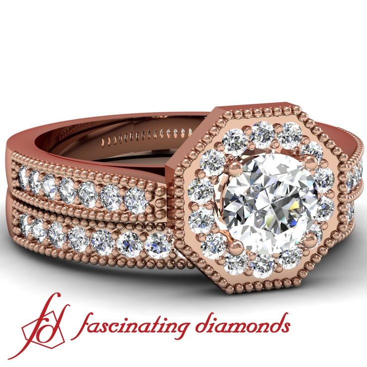 Round Diamond Octagonal Halo Cathedral Heirloom Pave Set Engagement Wedding  Rings Set