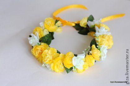 """Венок из цветов """"Солнечный"""" - жёлтый,фотосессия,для невесты,летний,пикник"""