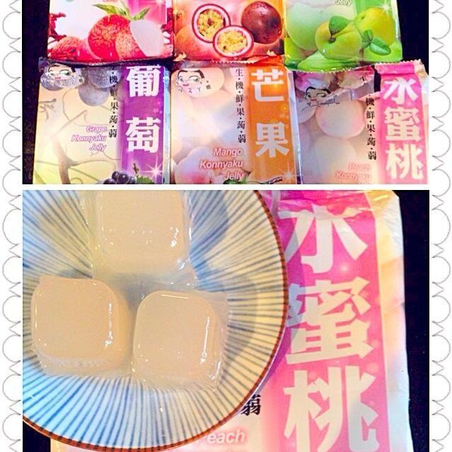 台湾お土産でいただきました 今日は〜冷たくって美味しい 歯ごたえあって程よい甘さ、他も楽しみです 降っては晴れて忙しいお天気だな(苦笑) - 39件のもぐもぐ - Peach konnyaku jelly桃蒟蒻ゼリー by Ami