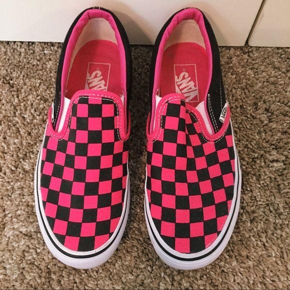 Hot Pink Checkered Vans | Pink vans