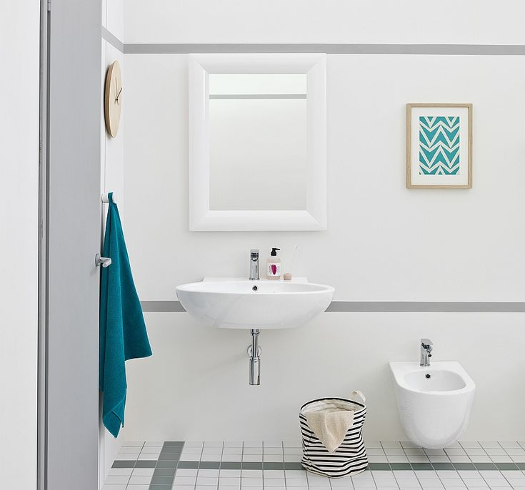 Bathroom:Appealing Bathroom Design Decorating With White Bathroom Sinks And White Toilet Also Painting And Wall Clock With Blue Towel In White Wall As Well As Ceramic Tiles Floor Its Cool Small Bathroom Design Inspiring Small Bathroom Design Ideas with Beautiful and Attractive Washbasins