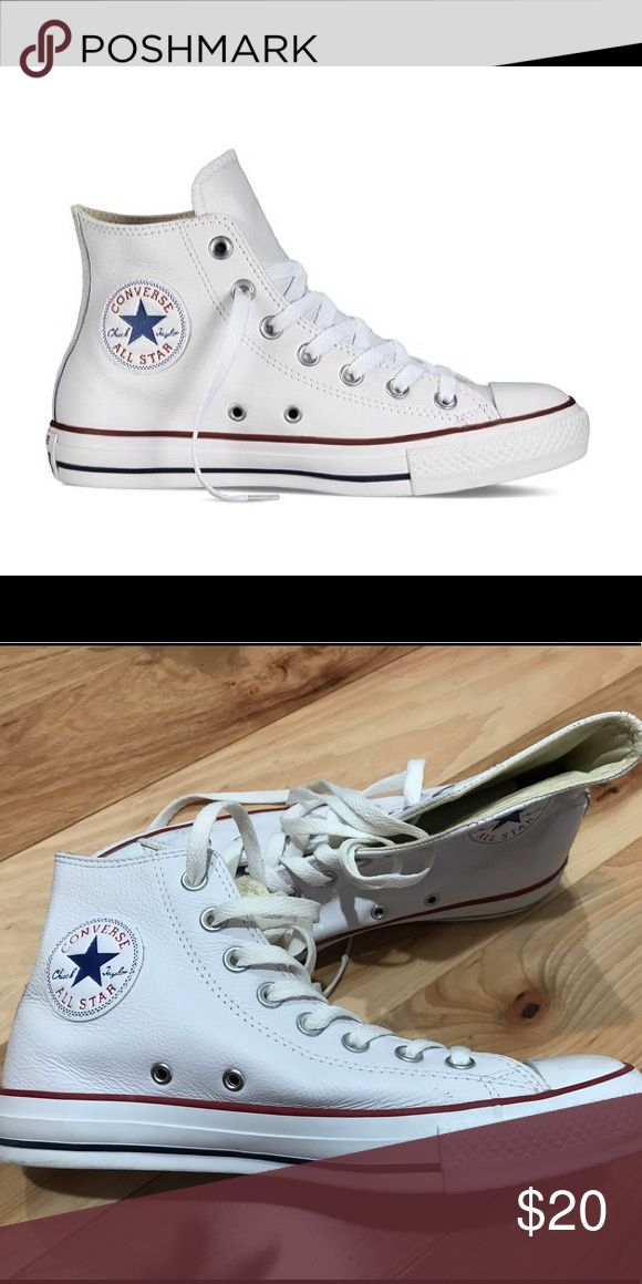 White Women's Chuck Taylor LEATHER High Tops White Women's Chuck Taylor Leather High Tops. Only worn once, sadly they don't fit :( Converse Shoes Sneakers